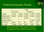 productivity equation results