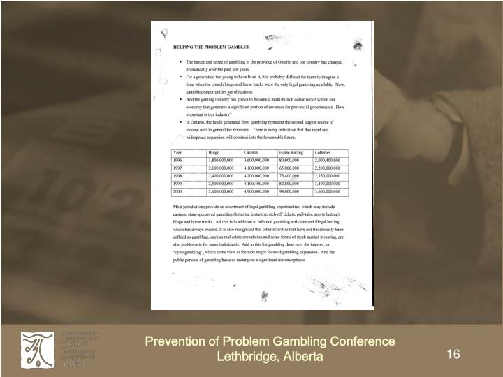 Prevention of Problem Gambling Conference