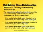 maintaining close relationships11