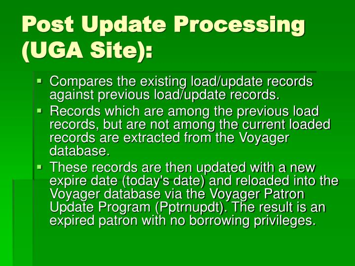 Post Update Processing (UGA Site):