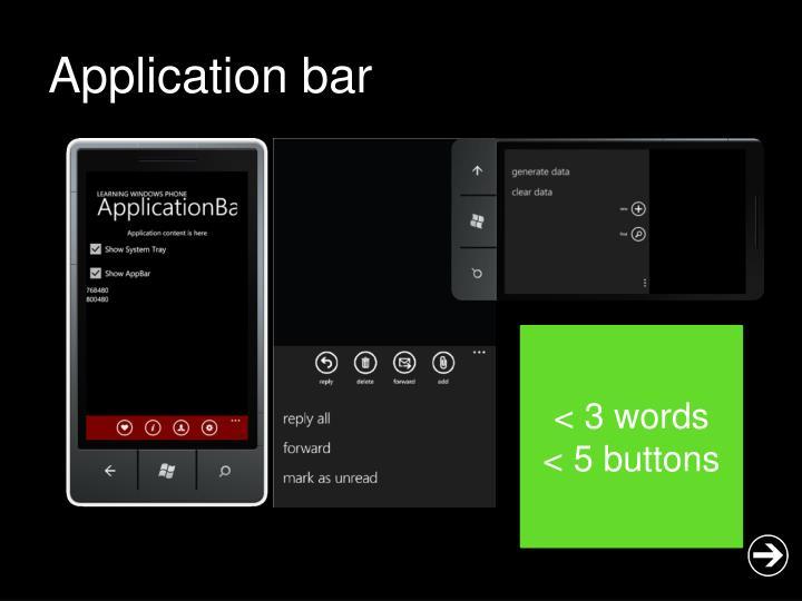 Application bar