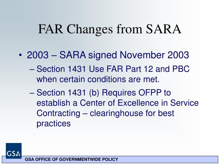 FAR Changes from SARA