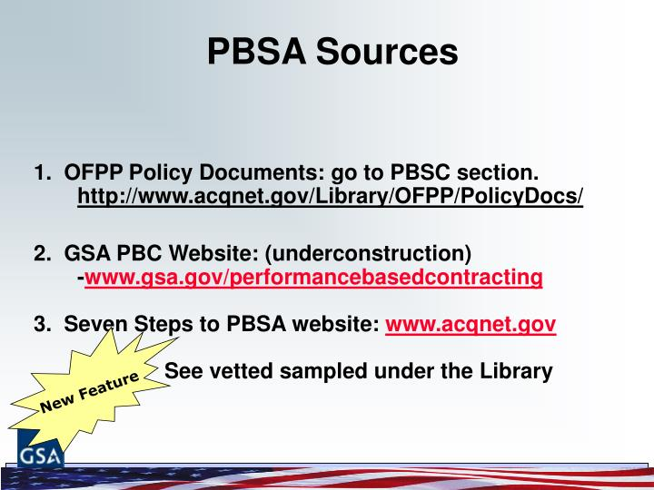 PBSA Sources