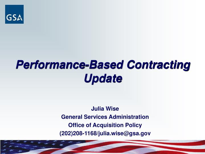 Performance based contracting update