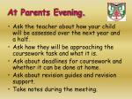 at parents evening