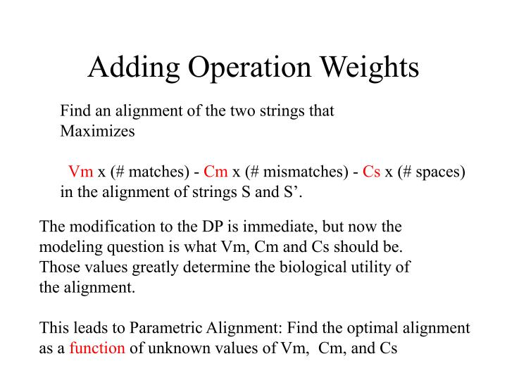 Adding Operation Weights