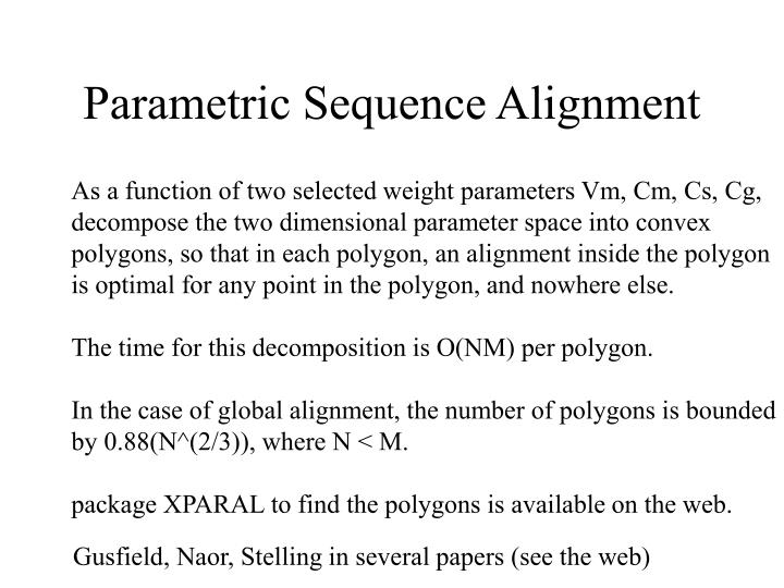 Parametric Sequence Alignment