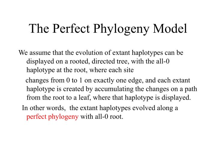 The Perfect Phylogeny Model