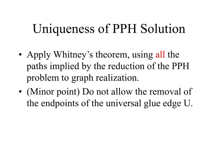 Uniqueness of PPH Solution