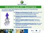 call for proposals 2011 award criteria