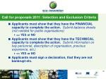call for proposals 2011 selection and exclusion criteria