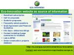 eco innovation website as source of information