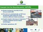example from the recycling sector saturn