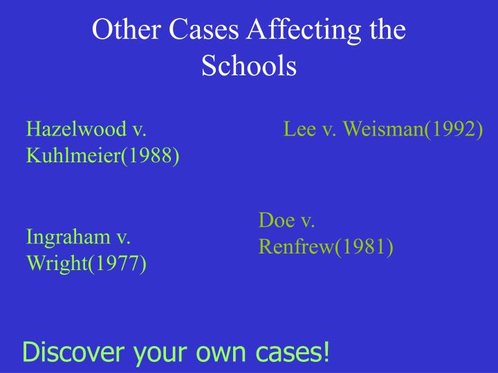 Other Cases Affecting the Schools