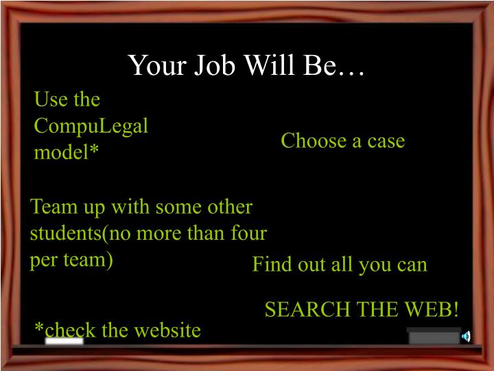 Your Job Will Be…