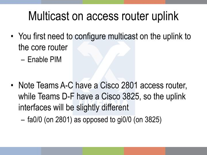 Multicast on access router uplink