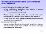 sustaining biodiversity carbon sequestered and flow of benefits