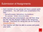 submission of assignments