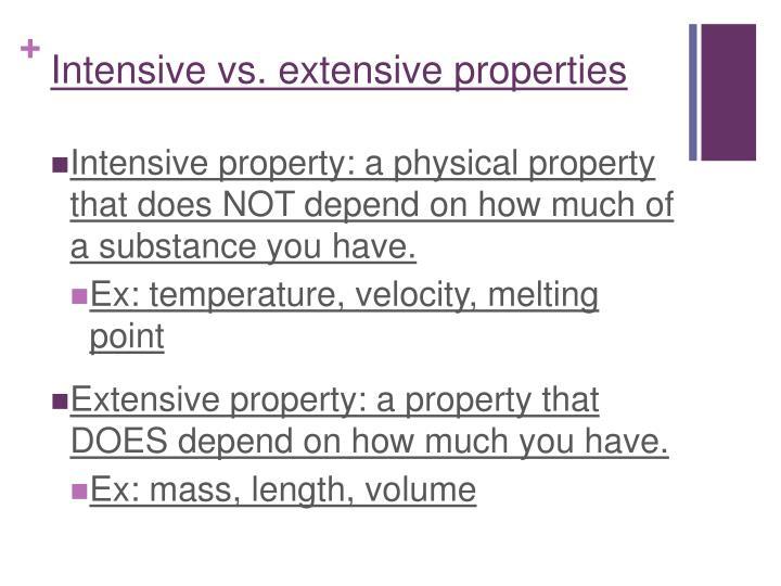 Intensive vs extensive properties