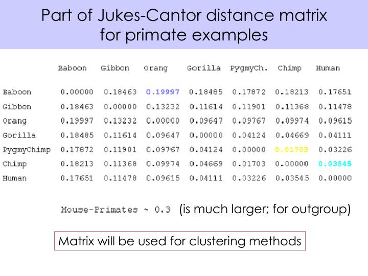 Part of Jukes-Cantor distance matrix