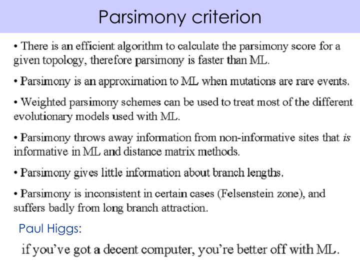 Parsimony criterion