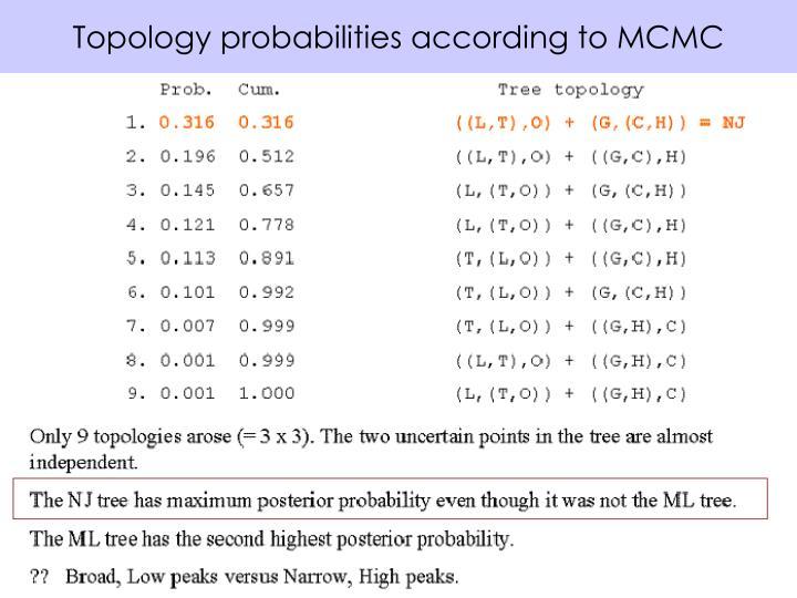 Topology probabilities according to MCMC