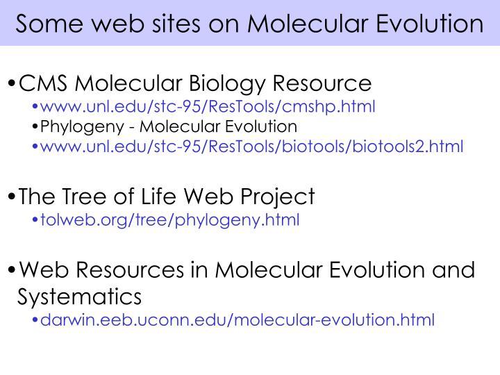 Some web sites on Molecular Evolution