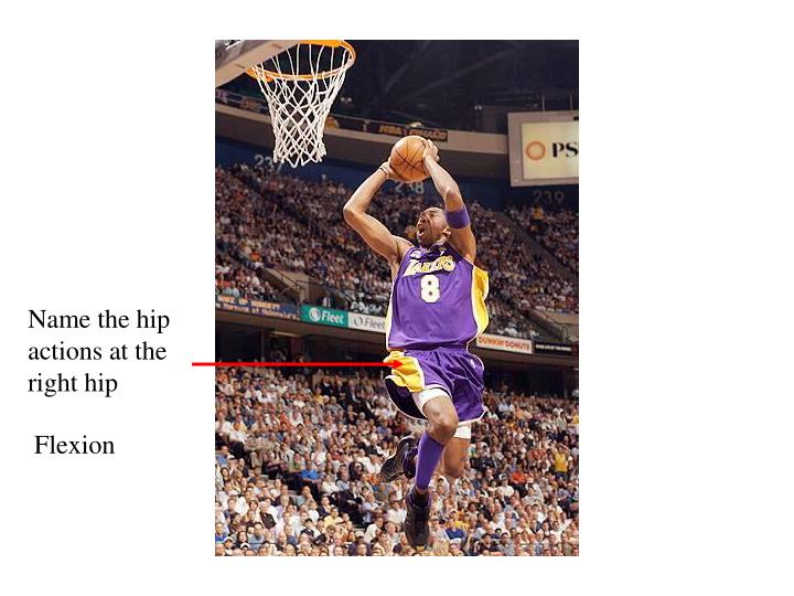 Name the hip actions at the right hip