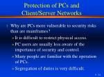 protection of pcs and client server networks