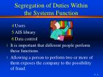 segregation of duties within the systems function2