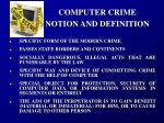 computer crime notion and definition