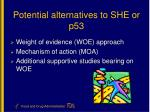 potential alternatives to she or p53