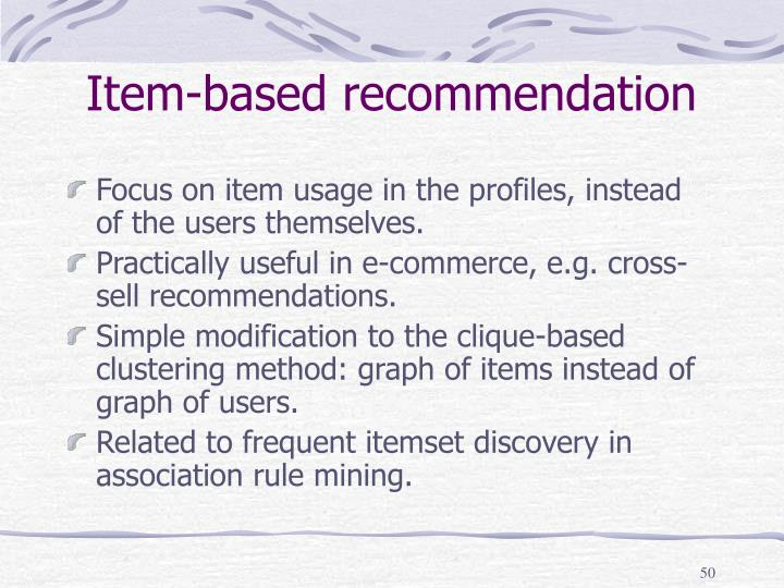 Item-based recommendation