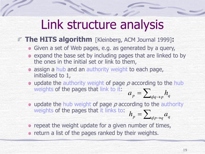 Link structure analysis