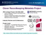 clever recordkeeping metadata project