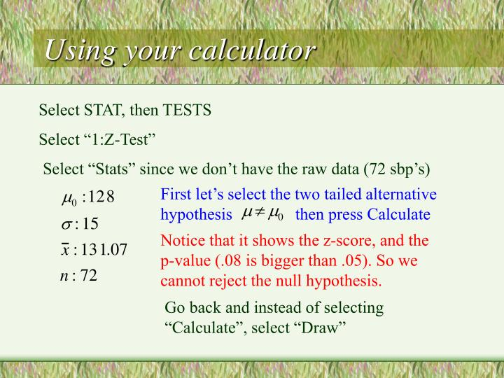 First let's select the two tailed alternative hypothesis