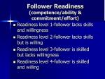 follower readiness competence ability commitment effort
