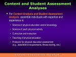 content and student assessment analyses