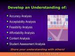 develop an understanding of