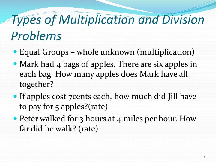types of multiplication and division problems n.