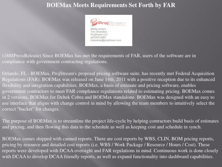 BOEMax Meets Requirements Set Forth by FAR