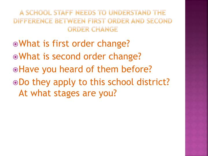A school staff needs to understand the difference between First Order and second order change