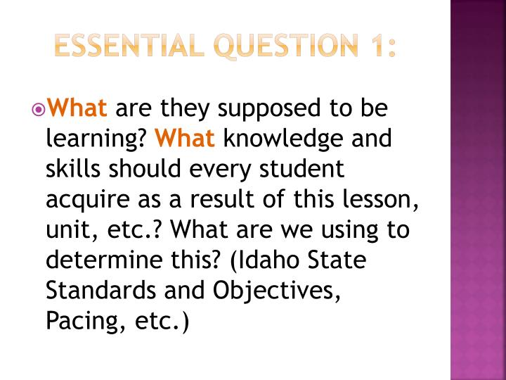 Essential Question 1: