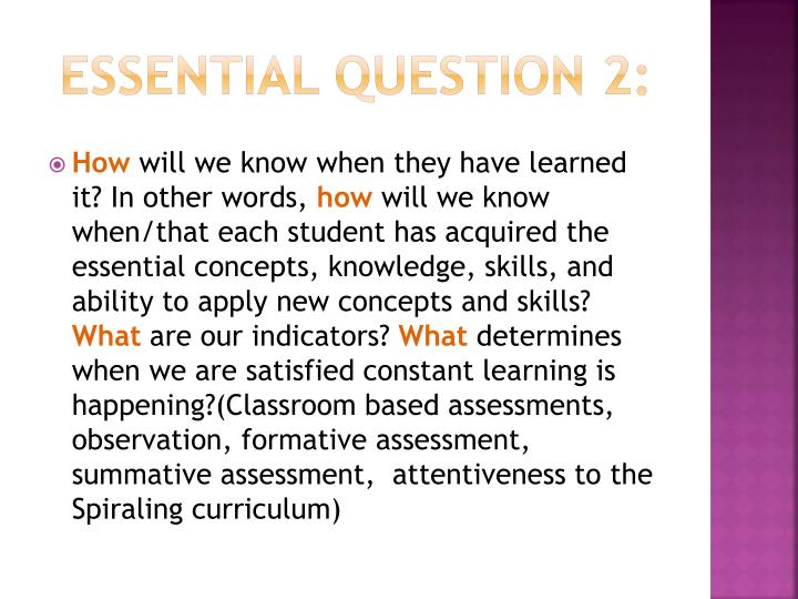 Essential Question 2: