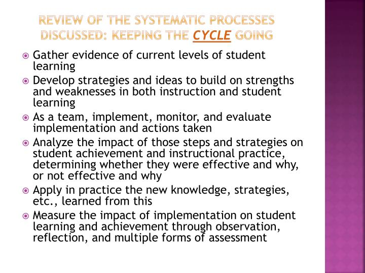 Review of the Systematic Processes Discussed: Keeping the