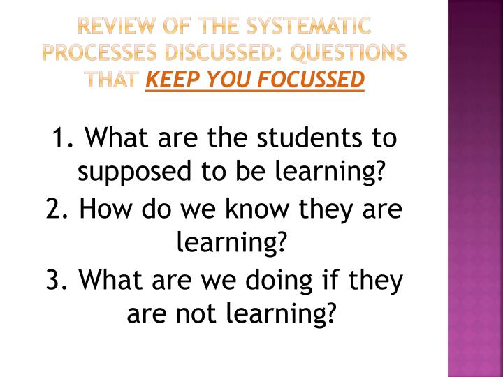 Review of the systematic processes discussed: Questions that