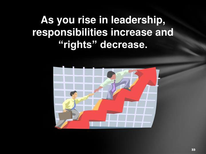 "As you rise in leadership, responsibilities increase and ""rights"" decrease."