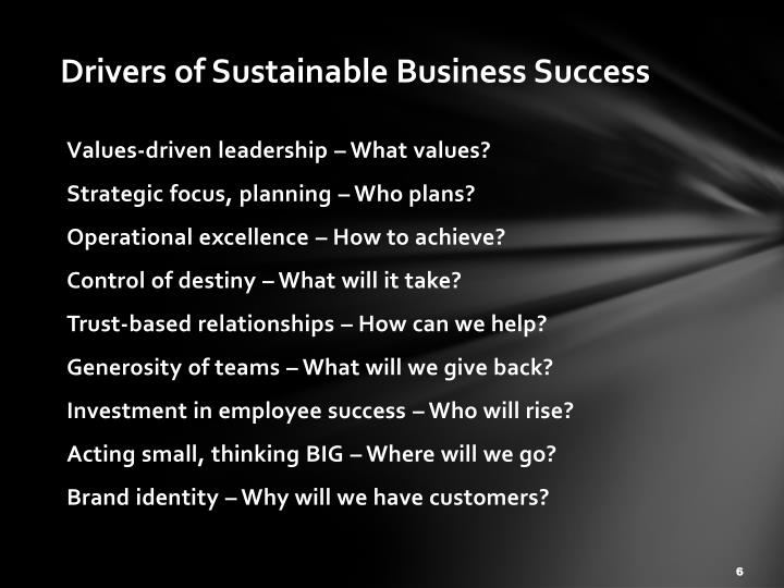 Drivers of Sustainable Business Success