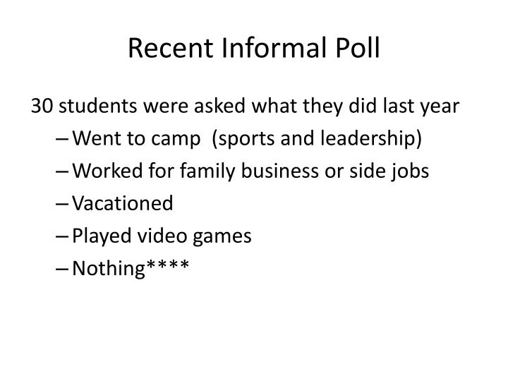 Recent Informal Poll