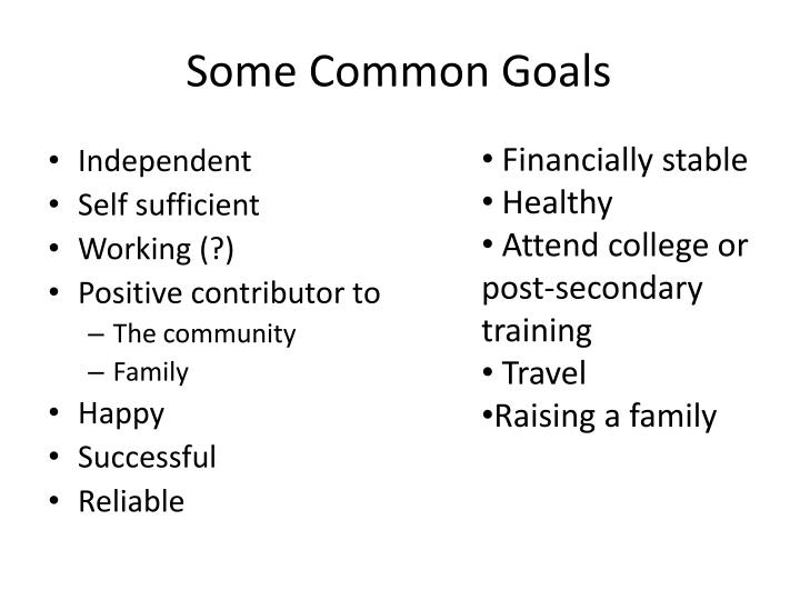 Some Common Goals